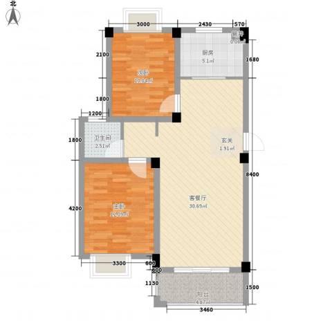 大桥新城2室1厅1卫1厨83.00㎡户型图