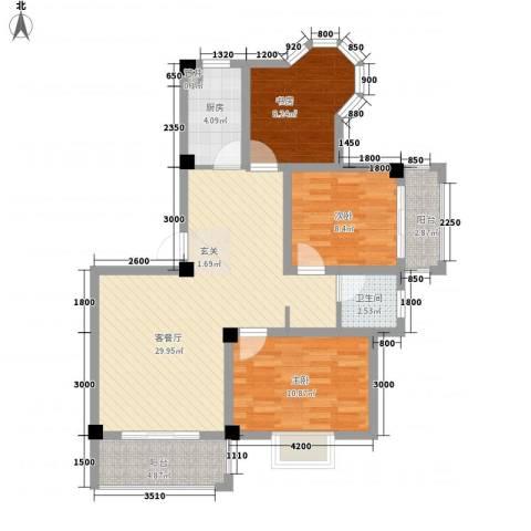 大桥新城3室1厅1卫1厨71.92㎡户型图