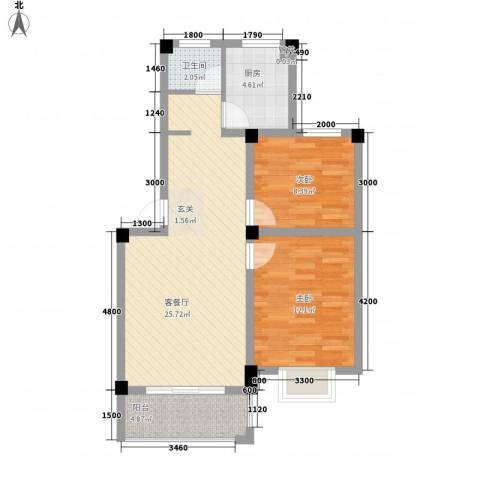 大桥新城2室1厅1卫1厨76.00㎡户型图