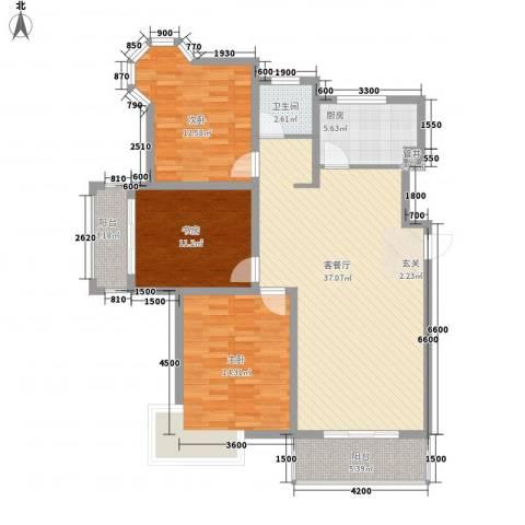 大桥新城3室1厅1卫1厨92.09㎡户型图