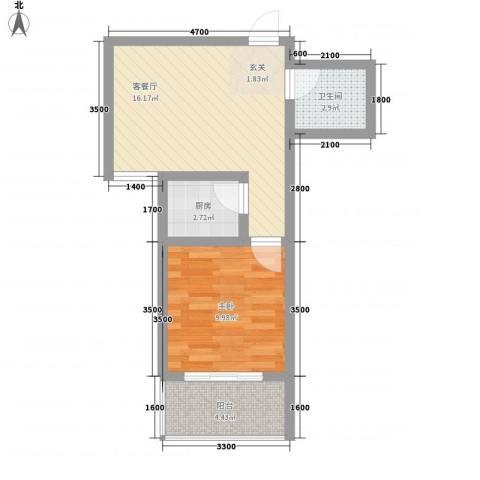 旭丰惬意空间1室1厅1卫1厨56.00㎡户型图