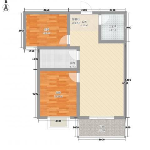 旭丰惬意空间2室1厅1卫1厨96.00㎡户型图