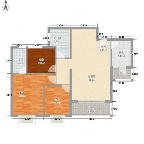 顺景半山豪苑3室1厅2卫1厨116.00㎡户型图