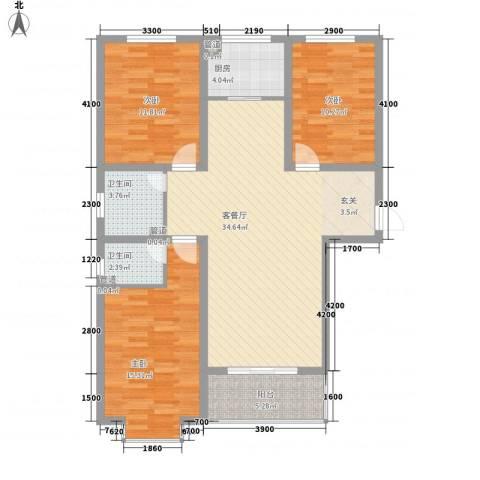旭丰惬意空间3室1厅2卫1厨131.00㎡户型图