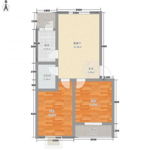 旭丰惬意空间2室1厅1卫1厨83.00㎡户型图