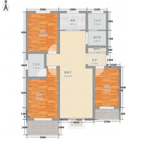 旭丰惬意空间3室1厅2卫1厨122.00㎡户型图