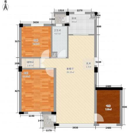 谷和温馨苑3室1厅1卫1厨102.00㎡户型图