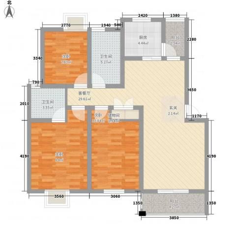 南城亲水佳苑3室1厅2卫1厨123.00㎡户型图