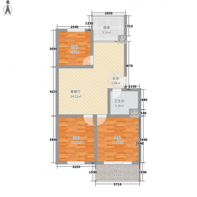 柳湖胜景11.00㎡标准层B1户型3室2厅2卫1厨