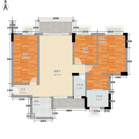 大步海滨花园三期3室1厅2卫1厨118.00㎡户型图