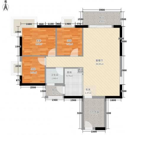 京华奥园3室1厅1卫1厨73.70㎡户型图