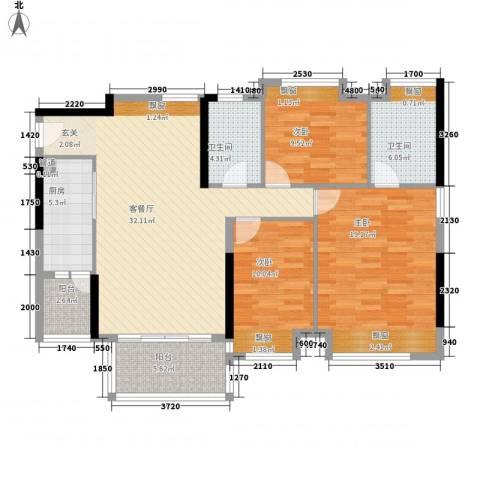 清华园3室1厅2卫1厨110.00㎡户型图