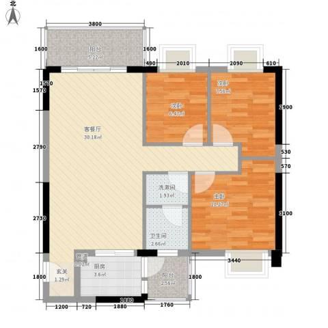 京华奥园3室1厅1卫1厨70.48㎡户型图