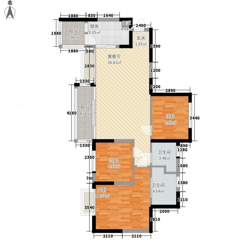 城北优品道一期1、2、3栋标准层A4户型3室2厅2卫1厨