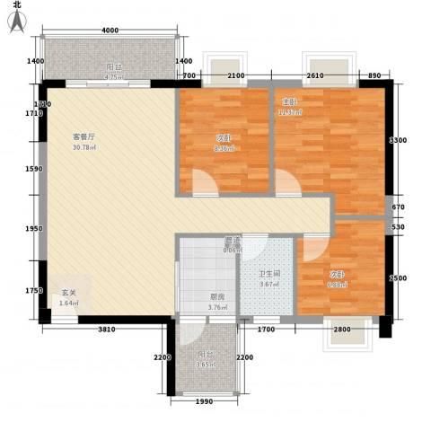 京华奥园3室1厅1卫1厨73.28㎡户型图