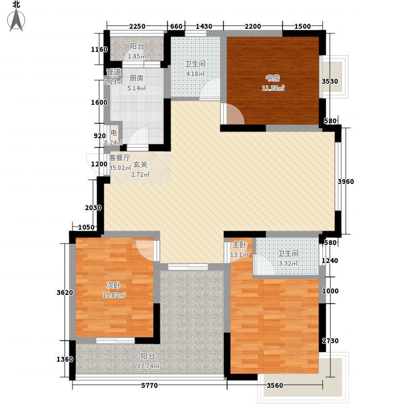 融创理想城市140.90㎡L户型3室2厅2卫