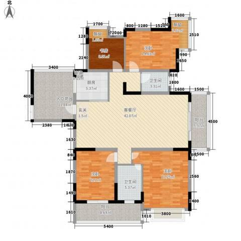 兰庭国际公馆4室1厅2卫1厨158.00㎡户型图