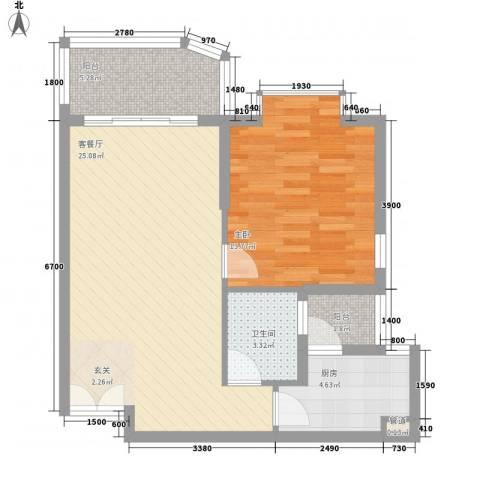 嘉宝花园二期1室1厅1卫1厨70.00㎡户型图