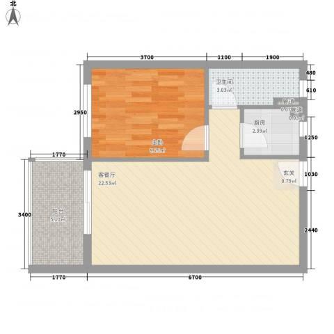 棕榈泉1室1厅1卫1厨61.00㎡户型图