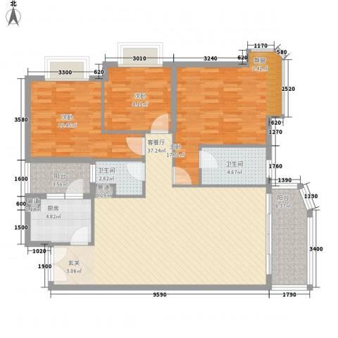 嘉宝花园二期3室1厅2卫1厨127.00㎡户型图
