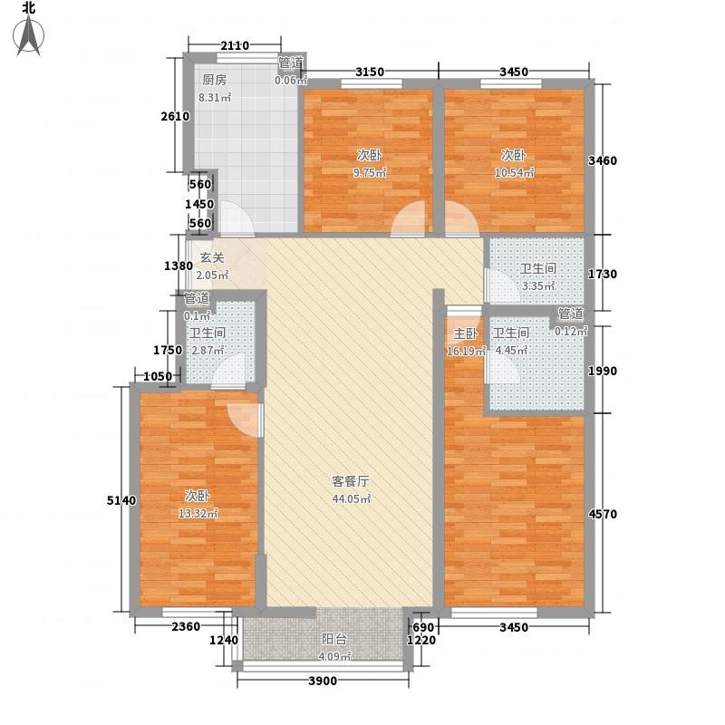 阅读莱茵154.00㎡三期4号楼户型4室1厅3卫1厨