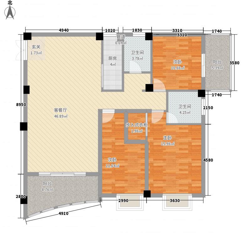 都会华彩都会华彩户型图8#标准层02单元3室2厅2卫1厨户型3室2厅2卫1厨
