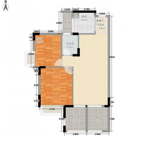 世纪城国际公馆 四期2室1厅1卫1厨106.00㎡户型图