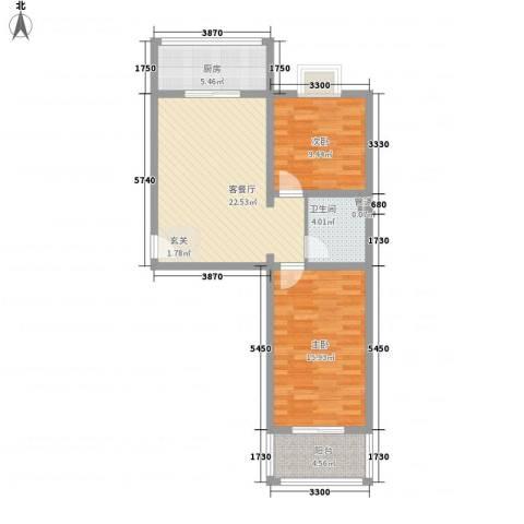 果岭小镇项目2室1厅1卫1厨81.00㎡户型图