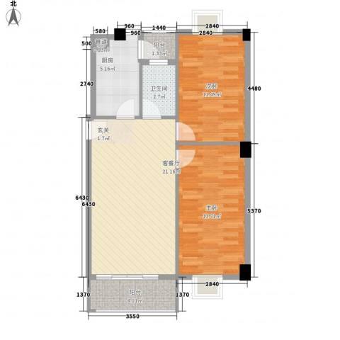 美景苑2室1厅1卫1厨84.00㎡户型图
