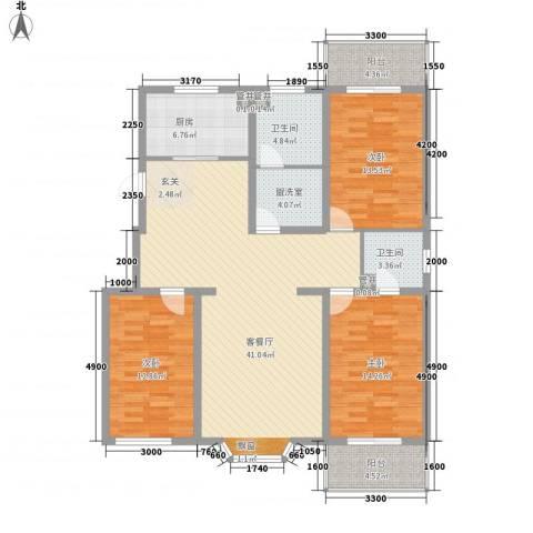 尚水金地3室1厅2卫1厨146.00㎡户型图