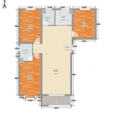 尚水金地3室1厅2卫1厨137.00㎡户型图