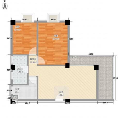 美景苑2室1厅1卫1厨77.00㎡户型图