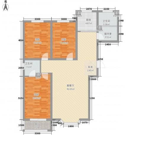 尚水金地3室1厅2卫1厨143.00㎡户型图