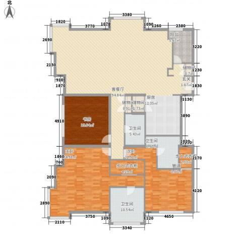 白金公寓3室1厅3卫0厨288.00㎡户型图