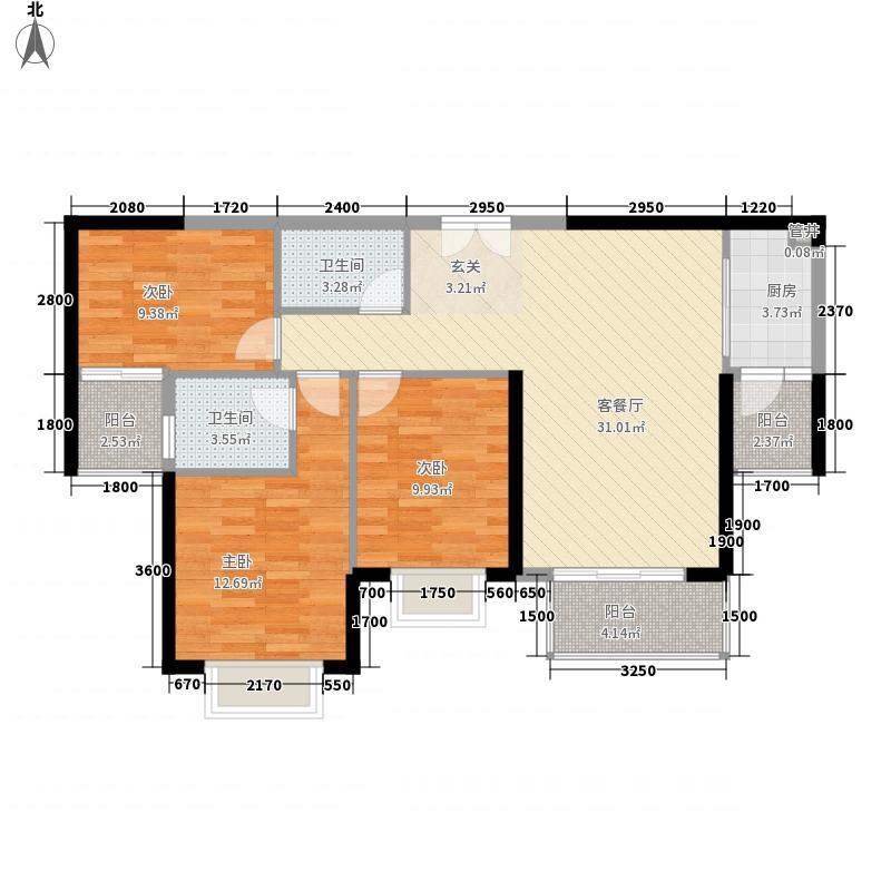 南益汇景豪庭12.00㎡B户型3室2厅2卫1厨