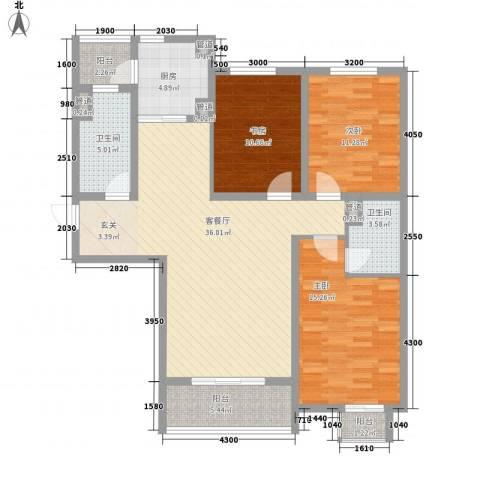 上城尔湾3室1厅2卫1厨142.00㎡户型图