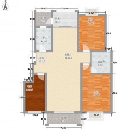 智雅茗苑3室1厅2卫1厨128.00㎡户型图