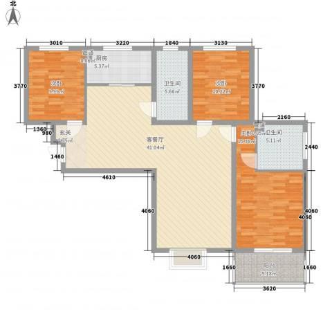 中央峰景3室1厅2卫1厨138.00㎡户型图