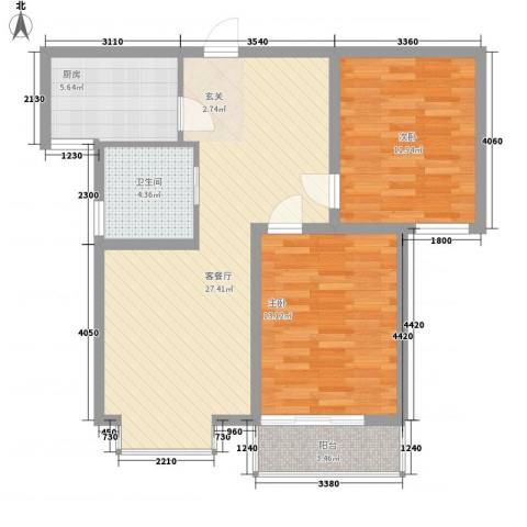 中央峰景2室1厅1卫1厨93.00㎡户型图