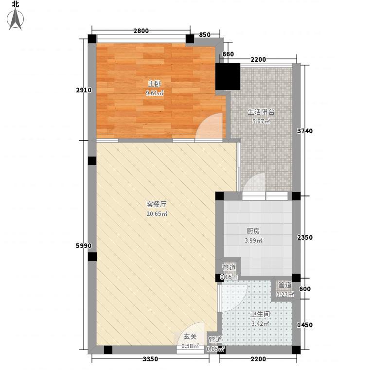 高升瑞景60.00㎡户型1室2厅1卫1厨