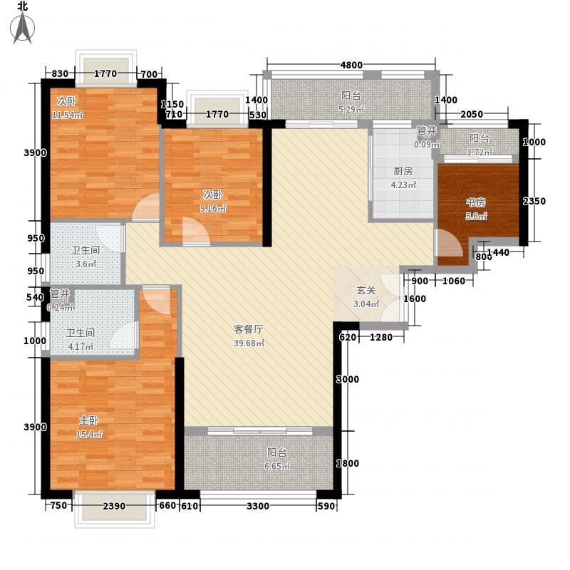 南益汇景豪庭13.00㎡D户型4室2厅2卫2厨