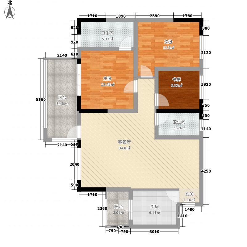 江鳞御景115.75㎡H2户型3室2厅2卫1厨