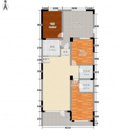 天力水榭春城3室1厅2卫1厨130.67㎡户型图