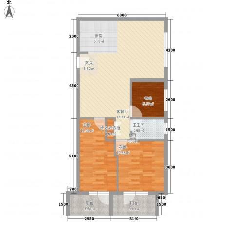 澳景蓝湾3室1厅1卫0厨71.59㎡户型图