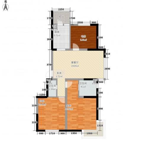 溪湖芳庭3室1厅2卫1厨111.00㎡户型图