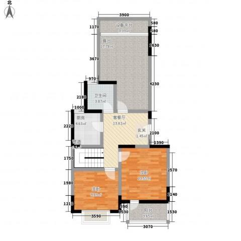 龙湖文馨苑2室1厅1卫1厨168.00㎡户型图