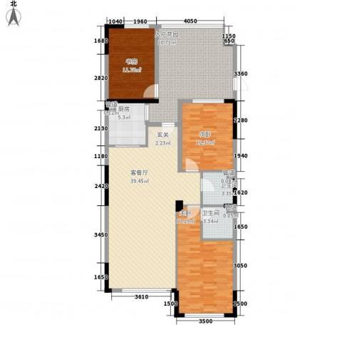 天力水榭春城3室1厅2卫1厨121.00㎡户型图