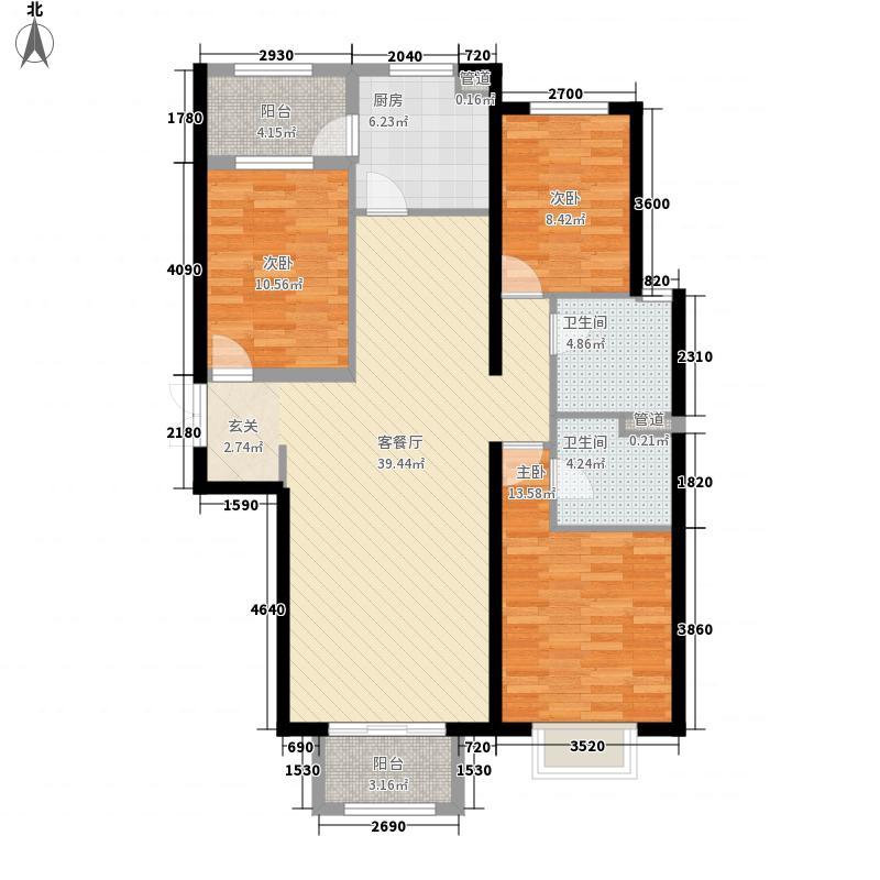 济宁太白路万达广场135.00㎡B1户型3室2厅2卫1厨