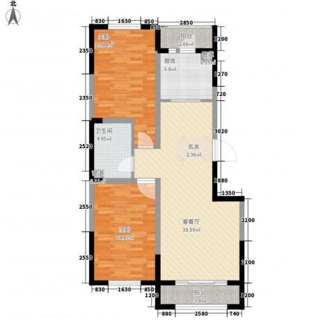 溪湖芳庭2室1厅1卫1厨107.00㎡户型图