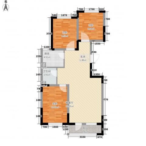 溪湖芳庭3室1厅1卫1厨105.00㎡户型图